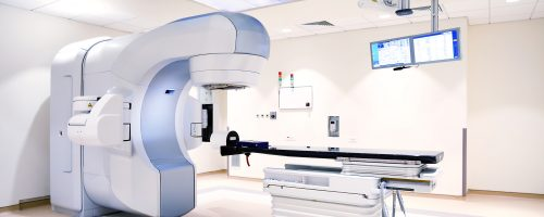 modern linear accelerator in an oncology modern sterile hospital.